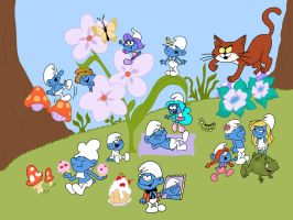 The Smurfs world by HeinousFlame