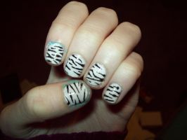 Zebra Nails by ffishy21
