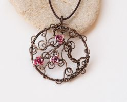 Tree of life pendant with pink roses by IanirasArtifacts