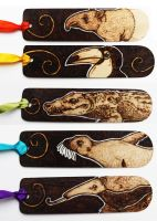 Pyrography Horizontal Animal Bookmarks by BumbleBeeFairy