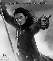 Will Turner black and white by AndersonMathias