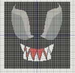 Venom face Extreme close up cross stitch design by KitsuneGemma