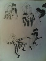 Beetlejuice and Lydia sketches by giulal