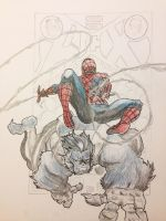 Spider-man And Beast (Old Drawing) by Lone--Dragon