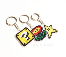 Super Mario - ? Box, Fire Flower, Star keychains by badger-creations