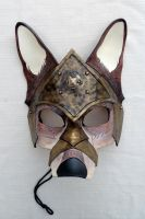 Armored War Wolf Leather Mask by b3designsllc