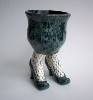 Sex Pot with Fishnet Stockings by jmnpottery