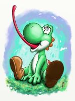 Yoshi Watercolor by Ninja-Turtles