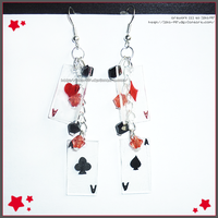 [Commission42] Hand Made Cards Red Black Earrings by izka-197