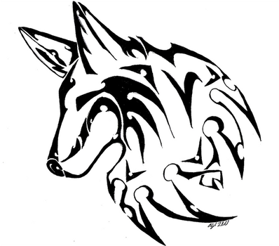 Courage - Tribal Wolf Design by epiphany48