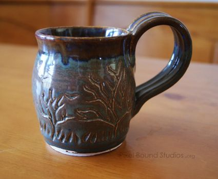 Tree Themed Brown Ceramic Mug by pixelboundstudios