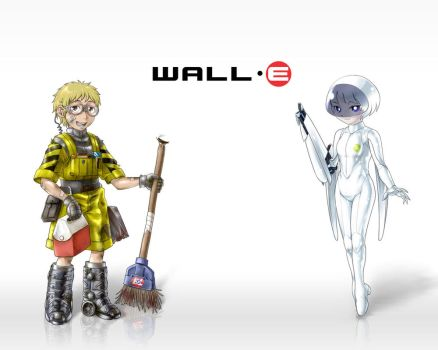 Humanized WALL-E and EVE by odaleex