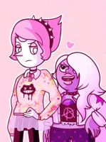 Pastel Goth Pearl and Amethyst by Aquaciana