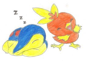 Cyndaquil and Torchik by KindiChan