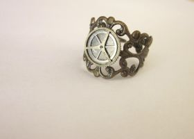 Steampunk Clock Ring Adjustable by FantasyDesigns1