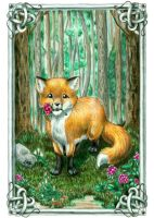 Fox with Rhododendrons -edit- by claidis