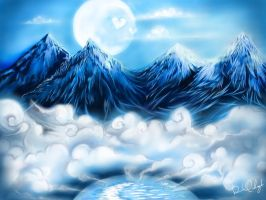 Mountains and the Moon.. by chikuQ