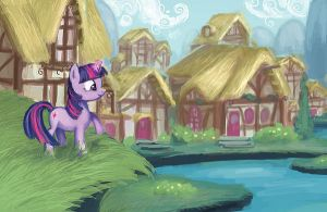 MLP - Early Morning in Ponyville by W-E-Z