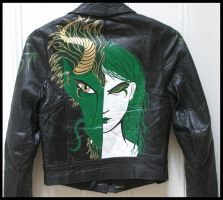 Green Dragon Leather Painted Jacket by wraithwitch