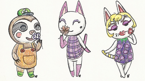 Animal crossing, colored pencils by Alisha-town