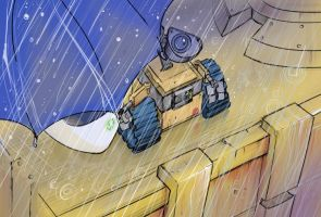 Wall-E and EVE- Rain by NoBullet