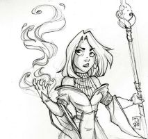 Mage black and white by NienorGreenfield