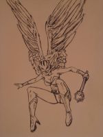 hawk girl pen drawing by Angel2489