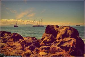 Beach : Rock port view by PandaWicked