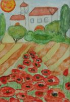 painting with poppies from Ingeline 5 by ingeline-art