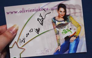 Autograph of singer and actress I work with by Angi-Shy