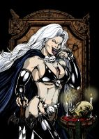 Lady Death lineart Colored by VickiBeWicked