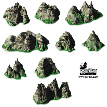 Isometric Mountains Render VideoGame 2d by Nirdia