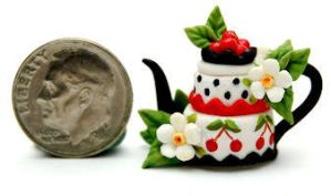 CHERRY BLOSSOM CAKE TEAPOT by WEE-OOAK-MINIATURES