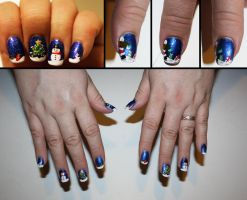 Christmas Scene Nail Art by elvaniel