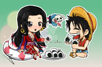 Hancock and Rufy - chibi by Nekoi-Echizen