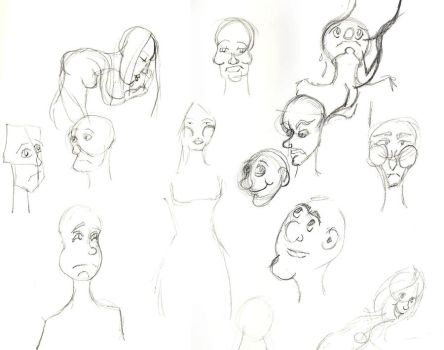Faces Sketch Dump by Red-Red-Rose