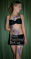 Feathery glitter body tatt 4 by Bodypaintingbycatdot