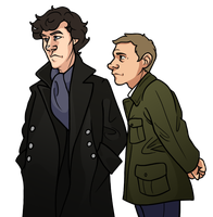 Sherlock and Jawn by pai-draws