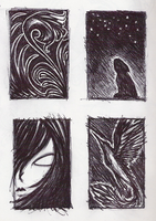 black and white doodles by flameinheaven