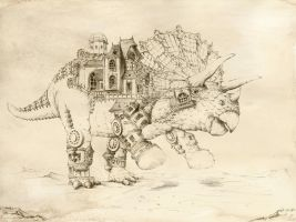 Steampunk Dinosaur by GrimDreamArt