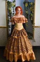 gold ball gown on the crinoline by Korff