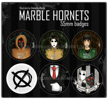 6 Marble Hornets badges by UmmuVonNadia