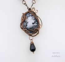 Victorian cameo Goth wire wrapped necklace by IanirasArtifacts