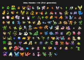 First generation shiny pokedex by Lendsei