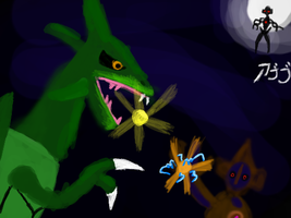 Rayquaza vs Deoxys Version 2 by TheDarkAbb