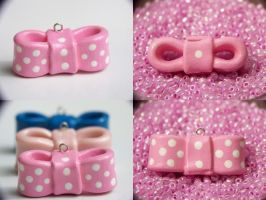 Pink Spotted Bow DetailShot by Shelby-JoJewelry