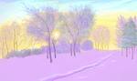 Sunrise in the snowy park. by yellika