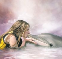 A Girl and a Dolphin by Wytch1