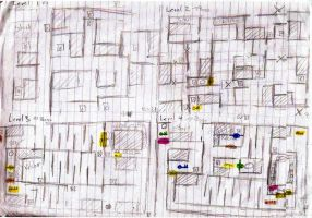 Awol in the Office Game: Maze level plans by DeverexDrawer