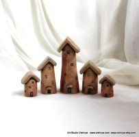 5 Rustic Houses of tiny fairies by vavaleff